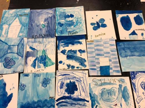 Young Masters Art Class studies Picasso's Blue Period.
