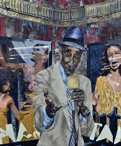 "Chee Bravo ""Subway Performers - The Crooner"" Digital collage of seven photos. Mixed media – acrylic, stencils, spray paint $8,250 plus tax"