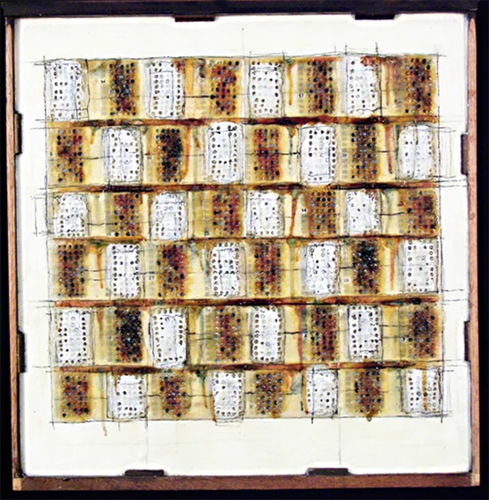 "Megan Klim ""A Patchwork of Answers"" SAT test prep answer sheets, beeswax, shellac, oil, ink on desk drawer 25"" x 24"" $500 plus tax"