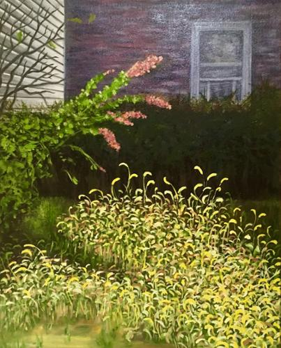 """Webster Avenue Wildflowers"".   Terry Lively. Oil on Canvas. 16"" x 20"". $500 plus tax."