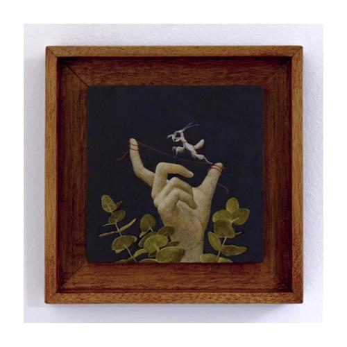 "Aya Ogasawara ""Her Tightrope"" Oil on Canvas 6"" x 6"" $2,000 plus tax Artist represented by Winterhouse Projects"