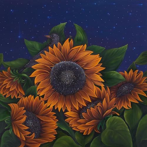 "Allison Greene ""Sun & Stars"" Oil on Canvas 36"" x 36"" $12,000 plus tax Artist is represented by Susan Eley Fine Art"